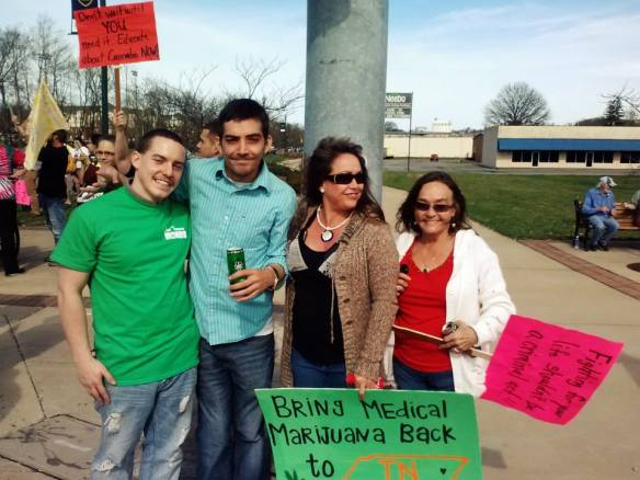 Seth Green (second from left) with others at a recent medical cannabis rally.